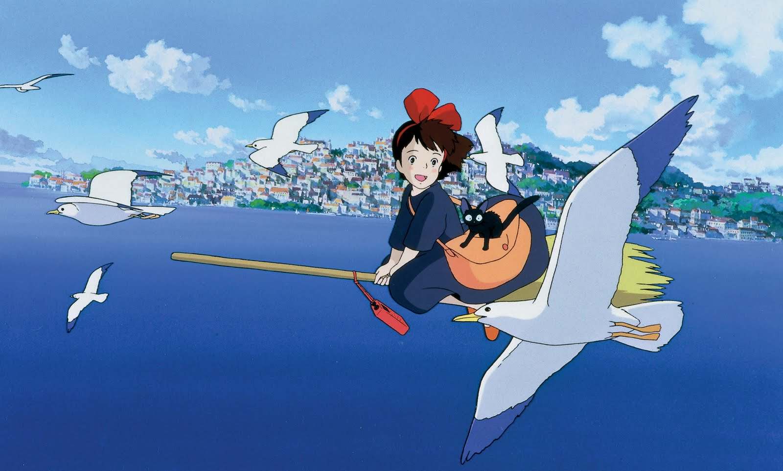 Kiki's Delivery Service flying over the sea